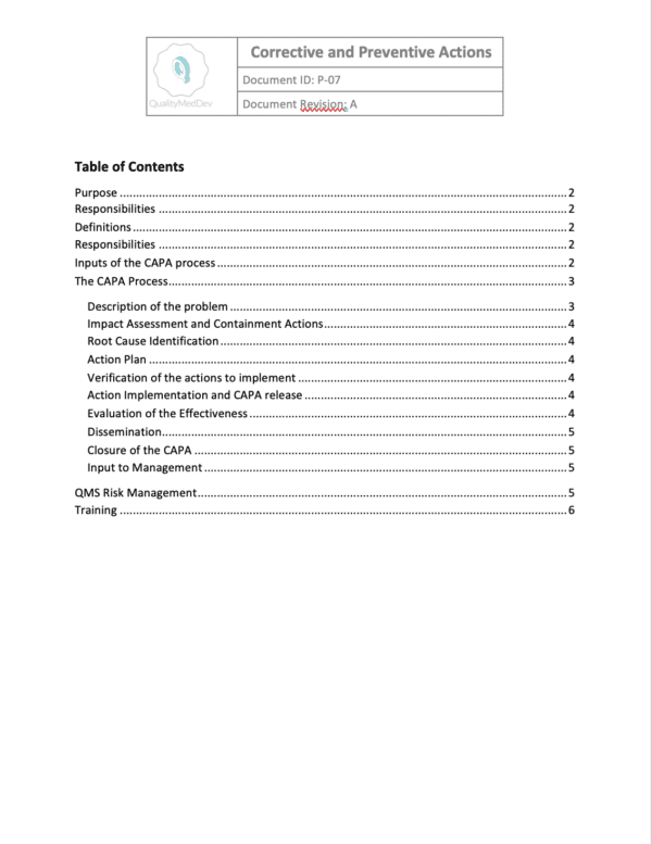 P-07 Table of Contents
