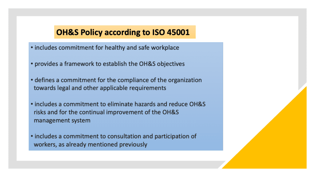 ISO 45001 OH&S policy